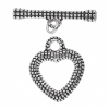 Toggle - Fancy Heart 21x27mm Antique Silver